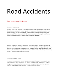 road accidents road accidents ten most deadly roads 1 the death road the north