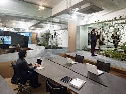 garden office interiors. Cool Office Japan Love For Nature: Open Space Showroom Integrates An Interior Garden Interiors