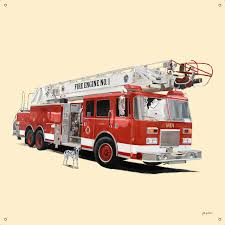 classic red fire engine canvas wall murals 42x42