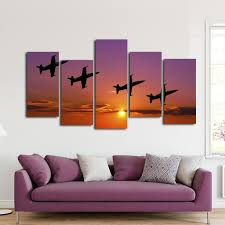 on lavender sunset wall art with fighter jets at sunset multi panel canvas wall art elephantstock