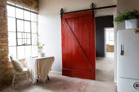 red barn door. Vintage Interior Design With DIY Red Sliding Barn Door Ideas, Painted Wooden Finish