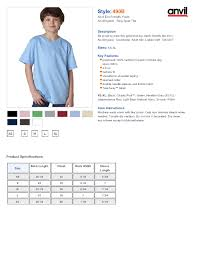 Anvil T Shirts Sizing Chart Rldm