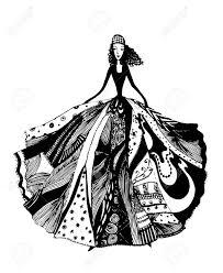 Hand Drawn Fashion Girl Portrait Vector Illustration