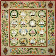 Quakertown Ladies of the Sea Quilt Applique 12 Pattern BOM Set ... & Quakertown Quilts Ladies of the Sea Ships Baltimore Album BOM Block of  Month 12 Pattern Set -