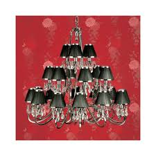 oksana stylish 21 light crystal chandelier in polished nickel with black shades 63508