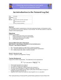 An Introduction To The Natural Log Ln