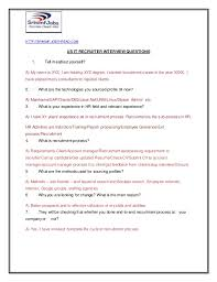 Sample Resume Questions Custom US IT Recruiter Interview Questions