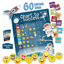 Chart To Success Magnetic Dry Erase Daily Routine Responsibility Chore Chart For Kids 80 Emojis 60 Tasks Including Behavior And Self Care Fun