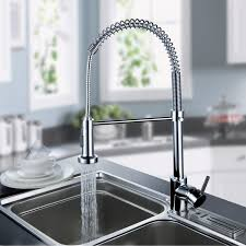 Ouku Deck Mount Contemporary Spring Kitchen Sink Faucet Chrome