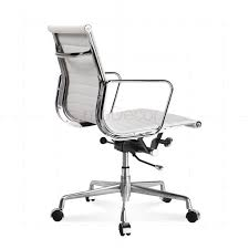 office chair white leather. Eames Office Chair Low Back Ribbed White Leather - Reproduction