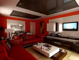 ... Fetching Home Interior Decoration Using Unique Paint Colors :  Extraordinary Modern Living Room Decoration Using Red ...