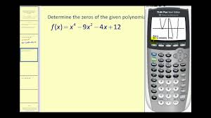 determining the real zeros of a polynomial function on the ti83 84
