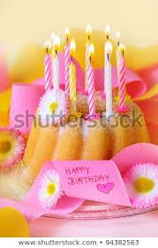 Happy Birthday Birthday Cake Flowers Candles Stock Photo Edit Now