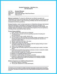 Awesome Resume For Clothing Store Manager Ensign Entry Level