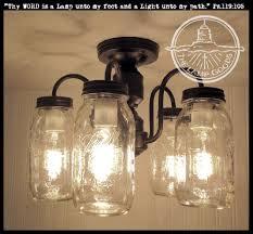 Mason Jar FLUSH MOUNT 5-Light Ceiling NEW Quarts