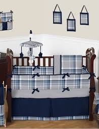 spectacular inspiration baby boy crib bedding sets sweet jojo navy blue and gray plaid boys set