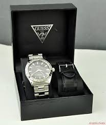 new guess men watch silver stainless steel black leather u10584g1 image is loading new guess men watch silver stainless steel black