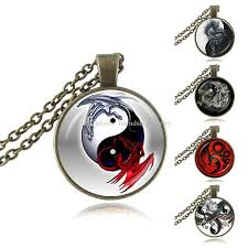 whole yin yang dragon pendant chinese eight diagrams necklace astrology zodiac jewelery charm pendant for him glass cabochon handmade jewellery costume