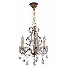 grace collection 3 light antique gold indoor chandelier