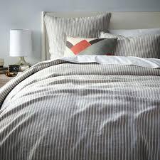 ticking stripe quilt shams blue and white