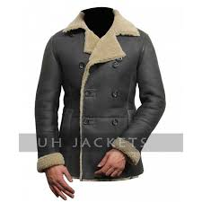 men s black shearling handmade leather jacket