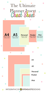 Infographic Planner Insert Sizes Chart Planner Pages
