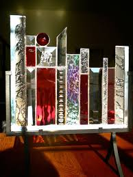 Suncatcher Display Stands Red Abstract Textured and Beveled Glass on display stand by 30
