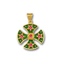 18k solid gold and hot enamel maltese canterbury ruby cross pendant a s