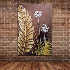 modern large wall art landscape golden foil palm leaves oil painting canvas fabric painting for home on large modern fabric wall art with modern large wall art landscape golden foil palm leaves oil painting