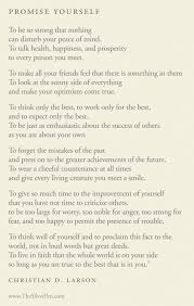 Promise Yourself By Christian Larson The Silver Pen Custom Motivational Poem About Love