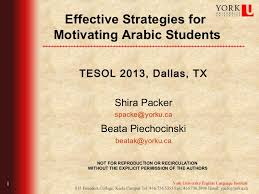 effective strategies for motivating arabic students tesol