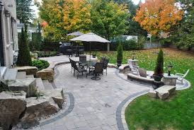 Backyard Outdoor Living, Built-In Grill, Fireplace, Stamped Concrete Patio Backyard  Landscaping