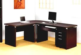 corner office furniture. Impressive Office Idea Presented With Dark Brown Colored L Shaped Home Desks Which Is Installed Above Cream Floor Carpet And Below Orange Painting Corner Furniture