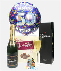50th birthday chagne and chocolates gift