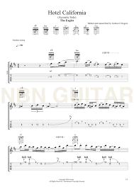 Moderate rock q = 79 Hotel California Acoustic Solo Sheet Music Tabs Nbn Guitar