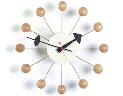 george nelson ball clock in natural beech  hivemoderncom