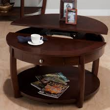 jofran riverside brown walnut 38 inch round cocktail table with shelf drawer casters and lift top round wooden coffee table with drawers