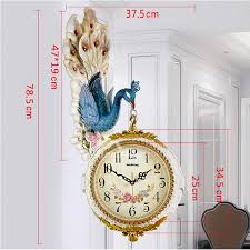 double sided wall clock carved peacock hanging plastic bedroom best hois45918 6 jpg