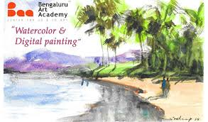 work on water colour and digital painting with sundeep with sudeep n p