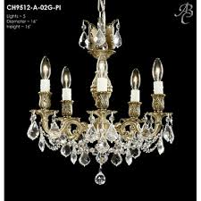 rosetta 5 light crystal chandelier finish polished brass with umber inlay crystal precision