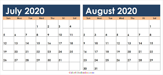 July August 2020 Calendar Colorful Printable Free Two