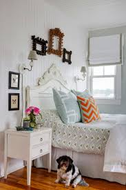 eclectic beach house bedroom by Kelly Taylor featured in Design New England  Magazine.