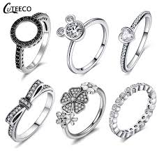 <b>CUTEECO Silver Color</b> Clear <b>CZ</b> Engagement Ring For Women Fit ...
