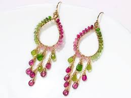 the spring love earrings rubellite pink and green tourmaline chandelier earrings in gold filled wire wrapped hoop gemstone earrings
