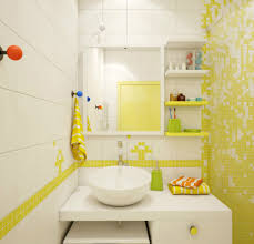 bathroom: Cool White Yellow Bathroom Decor Applied For Small Bathroom With  Vanity And Bowl Sink