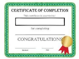 Certificate Of Completion Certificate Of Completion