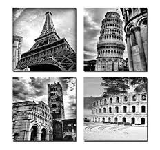 Amazon.com: Wieco Art Architectures Modern 4 Panels Giclee Canvas ...