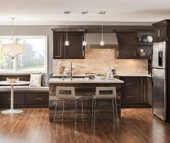 dark maple cabinets in cal kitchen