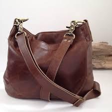 uksana leather hobo bag brown leather cross leather image