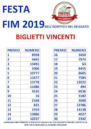 Festa Fim 2019: i biglietti vincenti della lotteria – Fim ...